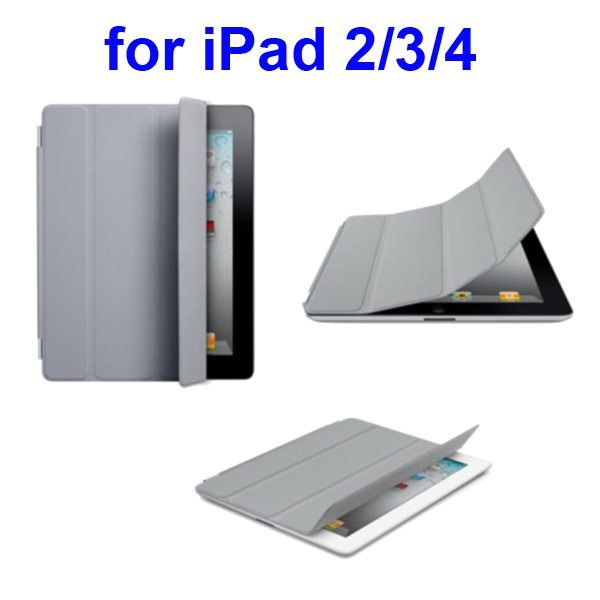 Ultrathin Four Folio Leather Smart Cover for iPad 2 The New iPadiPad 4 with Dormancy Function(Grey)