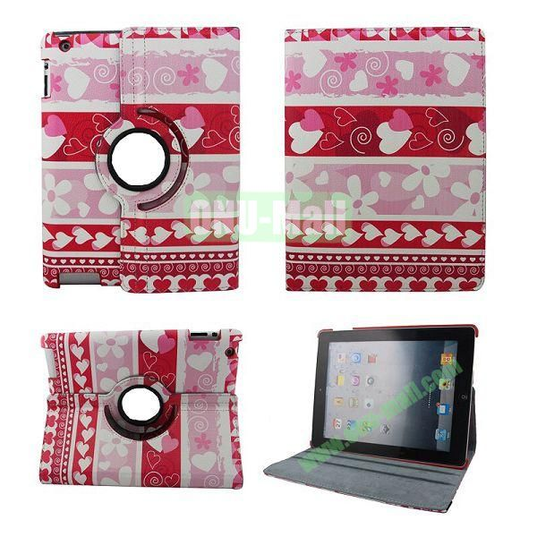 New Arrival Folk Style 360 Degree Rotation Leather Case Cover for iPad 2 the New iPad iPad 4