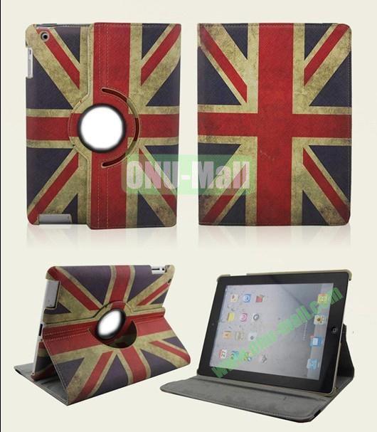 Retro UK Flag Style 360 Degree Rotation Leather Case Cover for iPad 2 the New iPad iPad 4