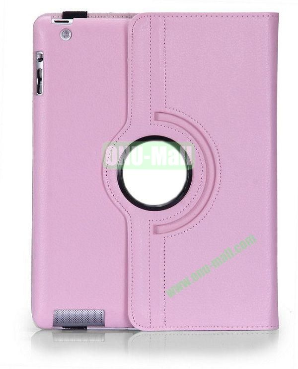 360 Degree Rotating Litchi Lines  Leather Case for iPad 2the New iPadiPad 4 with Three Lines Stand(Pink)