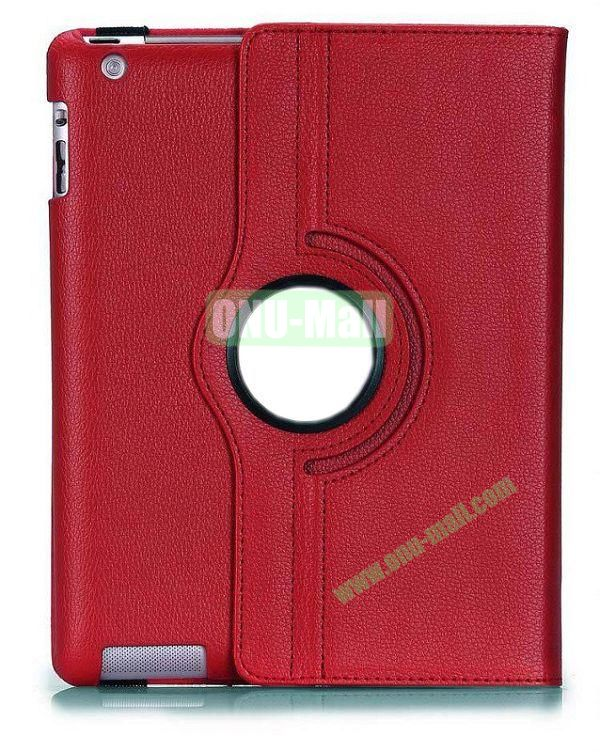 360 Degree Rotating Litchi Lines  Leather Case for iPad 2the New iPadiPad 4 with Three Lines Stand(Red)