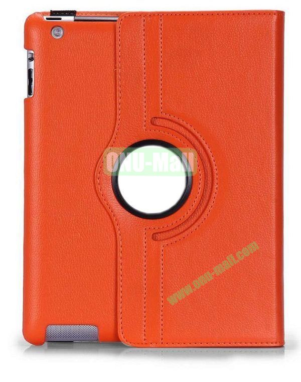360 Degree Rotating Litchi Lines  Leather Case for iPad 2the New iPadiPad 4 with Three Lines Stand(Orange)