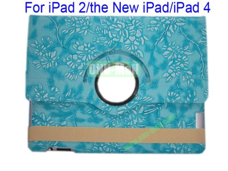 360 Degree Rotating  Flowers  Leather Case for iPad 2the New iPadiPad 4 with Three Lines Stand(Blue)