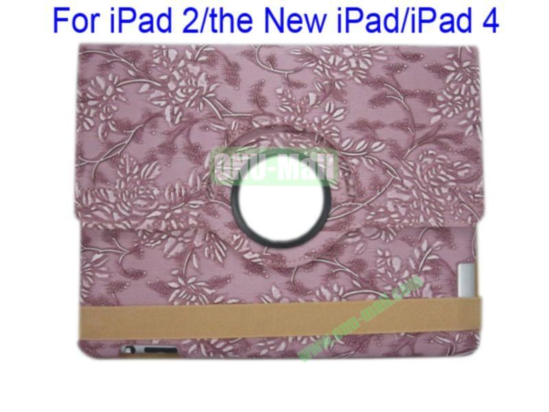 360 Degree Rotating  Flowers  Leather Case for iPad 2the New iPadiPad 4 with Three Lines Stand(Purple)