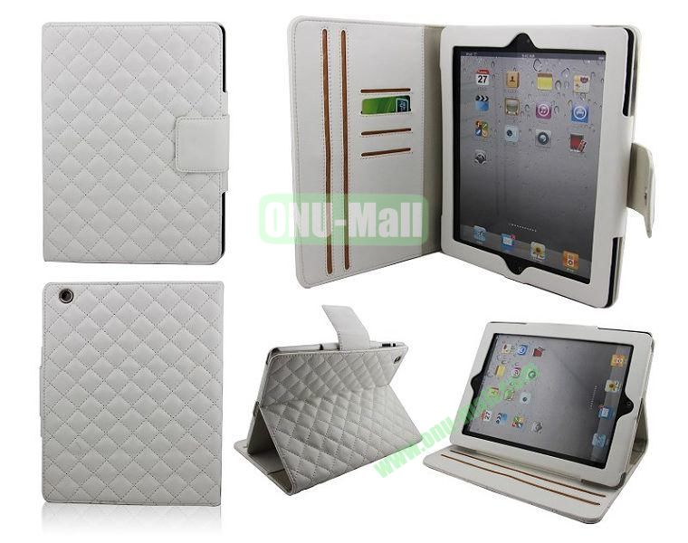 High Qality Rhombus Design Flip Leather Case Cover for iPad 2The New iPadiPad 4 with Card Slots(White)
