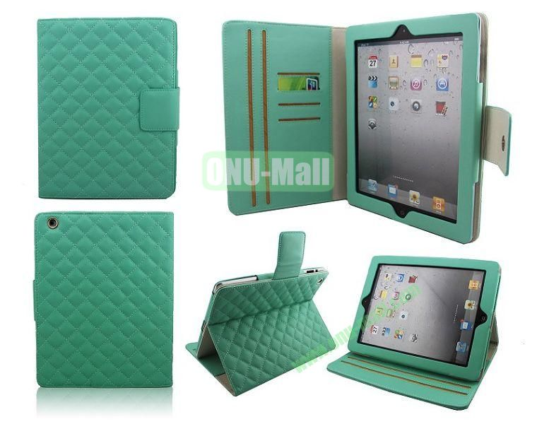 High Qality Rhombus Design Flip Leather Case Cover for iPad 2The New iPadiPad 4 with Card Slots(Green)