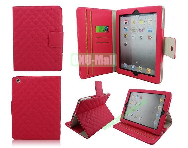 High Qality Rhombus Design Flip Leather Case Cover for iPad 2The New iPadiPad 4 with Card Slots(Rose)