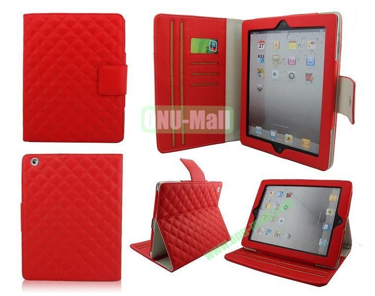 High Qality Rhombus Design Flip Leather Case Cover for iPad 2The New iPadiPad 4 with Card Slots(Red)