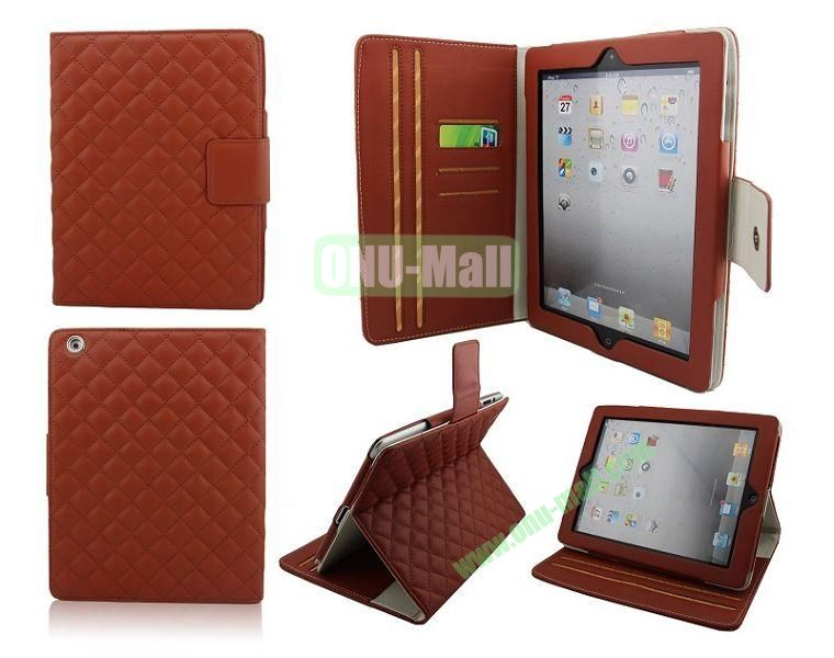 High Qality Rhombus Design Flip Leather Case Cover for iPad 2The New iPadiPad 4 with Card Slots(Brown)