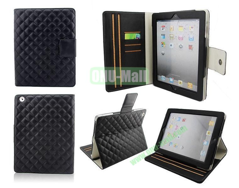 High Qality Rhombus Design Flip Leather Case Cover for iPad 2The New iPadiPad 4 with Card Slots(Black)