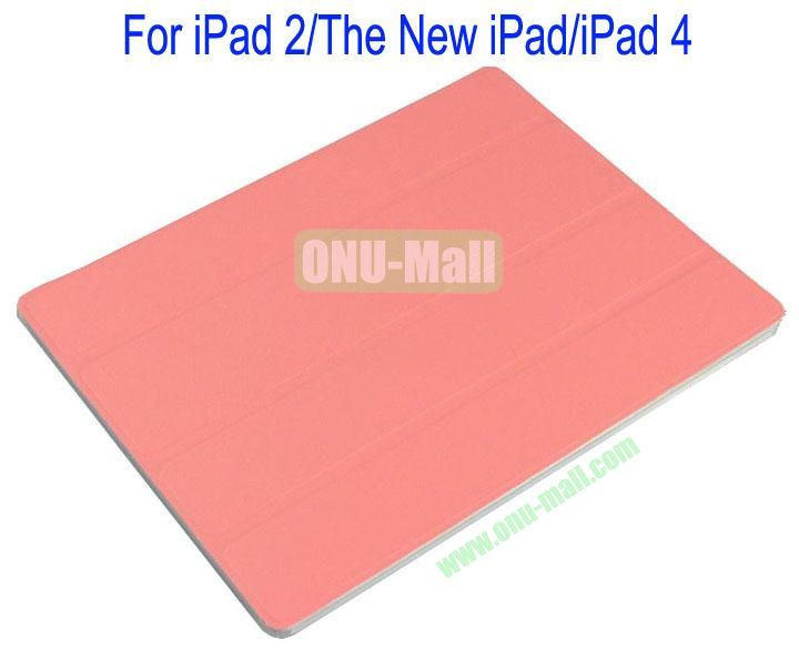 Refreshing Style Front Leather Cover with Back Transparent Hard Case Cover for iPad 2The New iPadiPad 4(Pink)