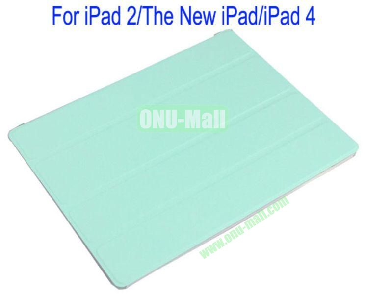 Refreshing Style Front Leather Cover with Back Transparent Hard Case Cover for iPad 2The New iPadiPad 4(Green)