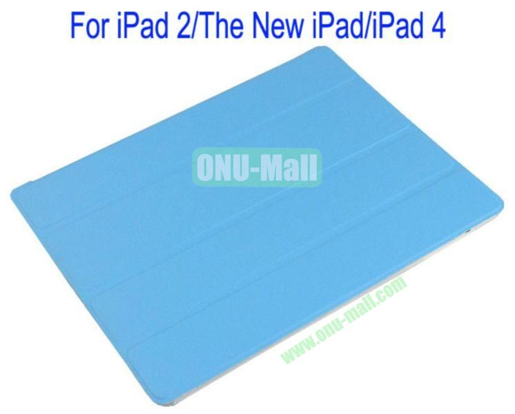 Refreshing Style Front Leather Cover with Back Transparent Hard Case Cover for iPad 2The New iPadiPad 4(Blue)
