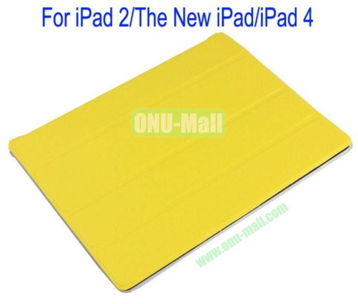 Refreshing Style Front Leather Cover with Back Transparent Hard Case Cover for iPad 2The New iPadiPad 4(Yellow)