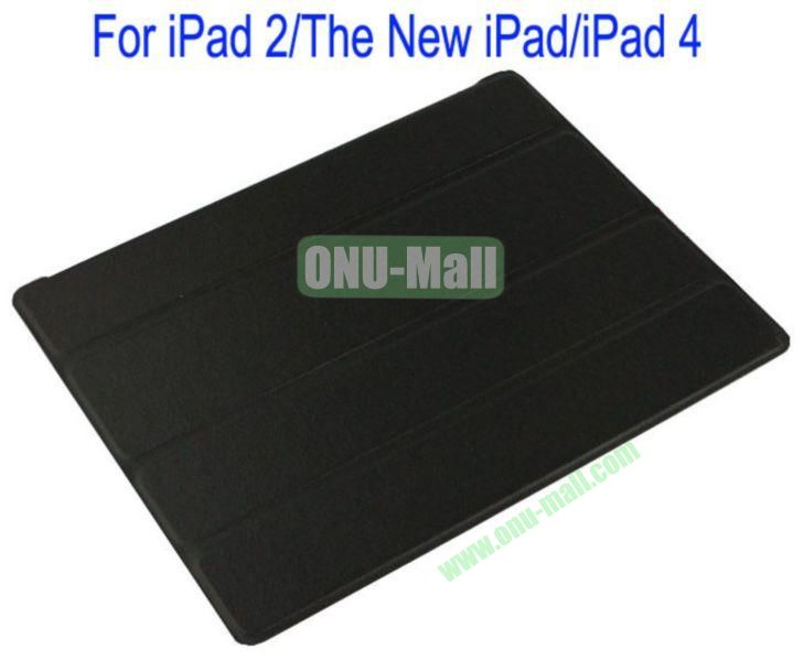 Refreshing Style Front Leather Cover with Back Transparent Hard Case Cover for iPad 2The New iPadiPad 4(Black)