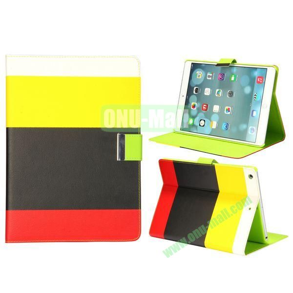 Color Mix Pattern Lichee Texture Magnetic Flip Leather and PC Stand Case for iPad Air (White+Yellow+Black+Red)