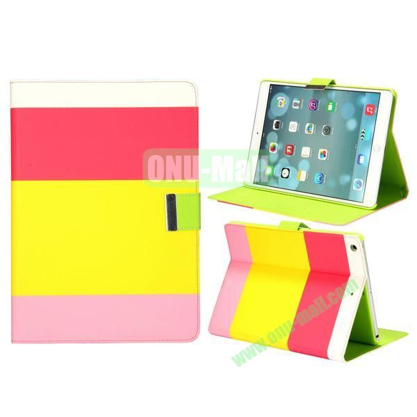 Color Mix Pattern Lichee Texture Magnetic Flip Leather and PC Stand Case for iPad Air (White+Rose+Yellow+Pink)