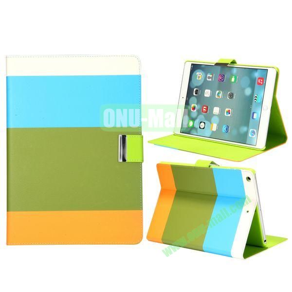 Color Mix Pattern Lichee Texture Magnetic Flip Leather and PC Stand Case for iPad Air (White+Blue+Brown+Orange)