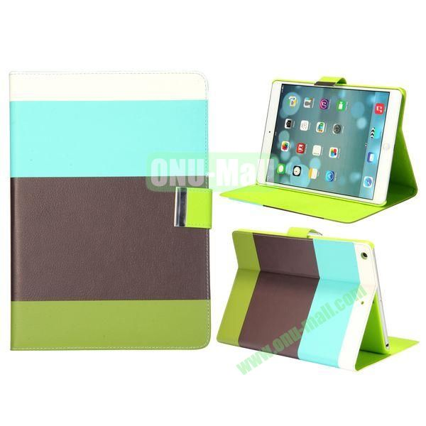Color Mix Pattern Lichee Texture Magnetic Flip Leather and PC Stand Case for iPad Air (White+Blue+Brown+Green)