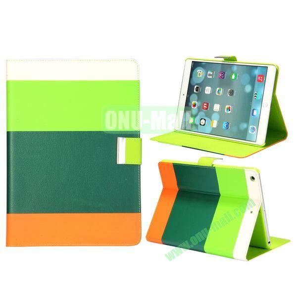 Color Mix Pattern Lichee Texture Magnetic Flip Leather and PC Stand Case for iPad Air (White+Light Green+Green+Orange)