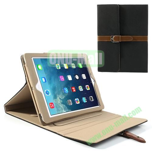 Classical Retro Style Leather Case for iPad Air with Sleep Function (Black)