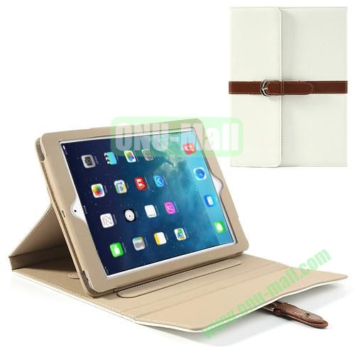 Classical Retro Style Leather Case for iPad Air with Sleep Function (White)