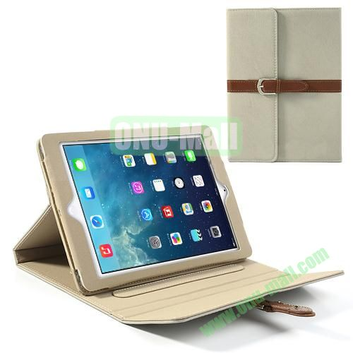 Classical Retro Style Leather Case for iPad Air with Sleep Function (Grey)