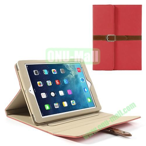Classical Retro Style Leather Case for iPad Air with Sleep Function (Red)