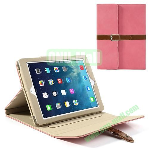 Classical Retro Style Leather Case for iPad Air with Sleep Function (Pink)
