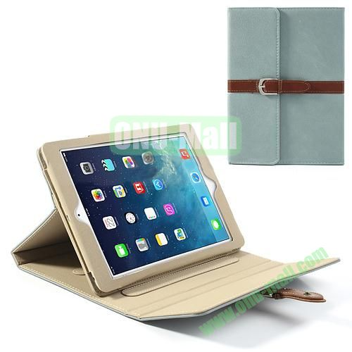 Classical Retro Style Leather Case for iPad Air with Sleep Function (Light Blue)