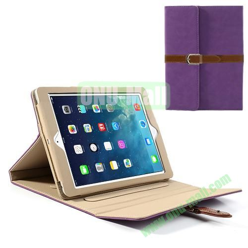 Classical Retro Style Leather Case for iPad Air with Sleep Function (Purple)