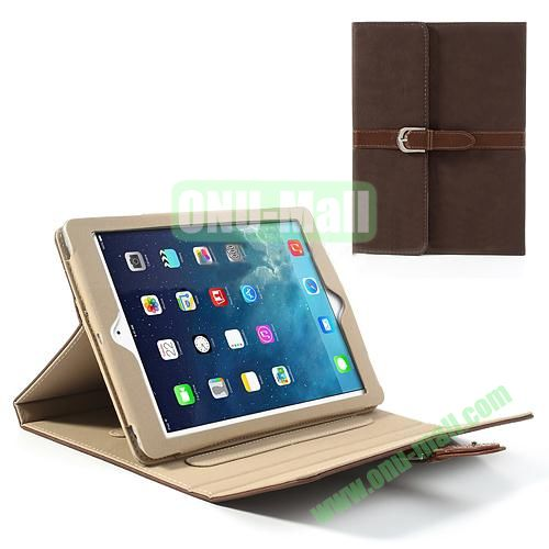 Classical Retro Style Leather Case for iPad Air with Sleep Function (Coffee)