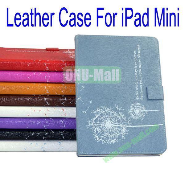 Dandelion Pattern Flip Stand Leather Case for iPad Mini(Cyan)