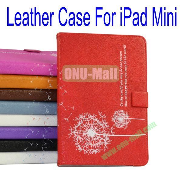 Dandelion Pattern Flip Stand Leather Case for iPad Mini(Red)