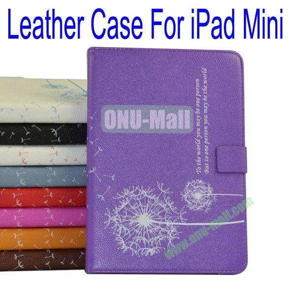Dandelion Pattern Flip Stand Leather Case for iPad Mini(Purple)