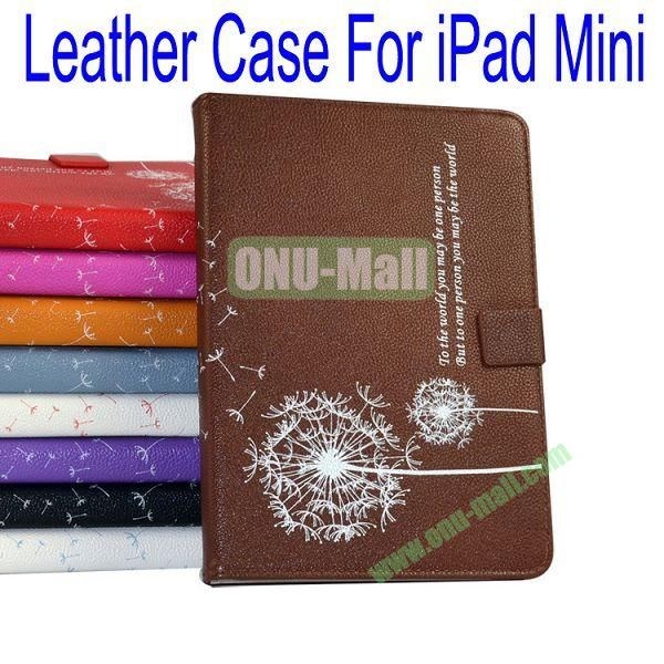 Dandelion Pattern Flip Stand Leather Case for iPad Mini(Brown)
