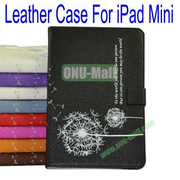 Dandelion Pattern Flip Stand Leather Case for iPad Mini(Black)