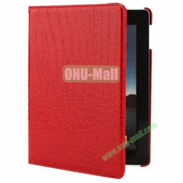 360 Degree Rotating Crocodile Leather Case Cover for iPad Mini with Stand(Red)