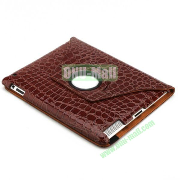 360 Degree Rotating Crocodile Leather Case Cover for iPad Mini with Stand(Brown)