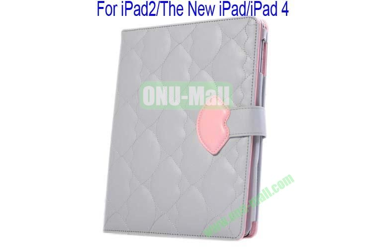 New Arrival Lips Design Leather Case Cover for iPad 2The New iPadiPad 4 with Card Slots(Grey)