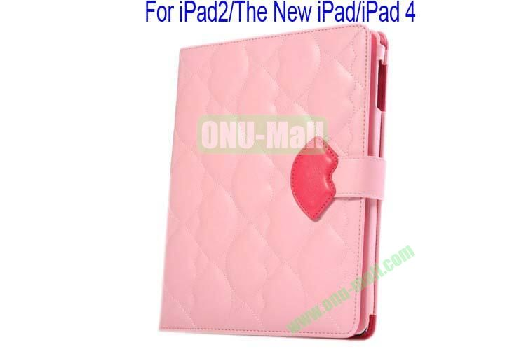 New Arrival Lips Design Leather Case Cover for iPad 2The New iPadiPad 4 with Card Slots(Pink)