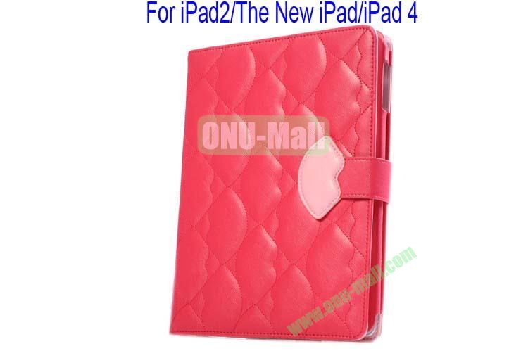 New Arrival Lips Design Leather Case Cover for iPad 2The New iPadiPad 4 with Card Slots(Rose)