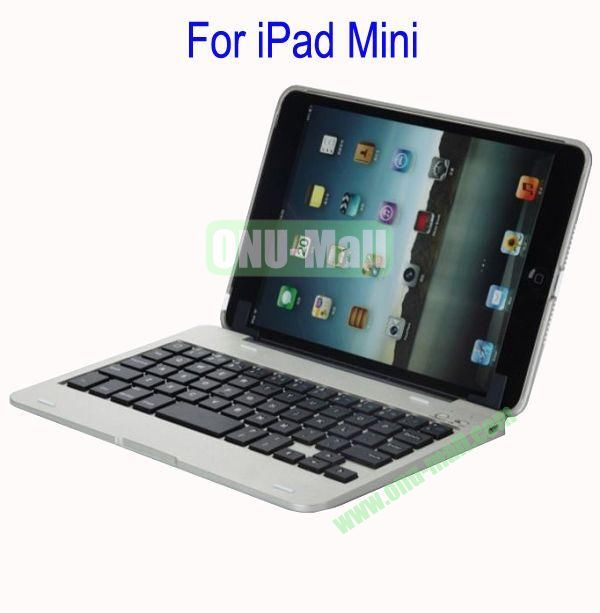 Detachable Aluminum Bluetooth Keyboard Case Cover for iPad Mini with Stand(White)