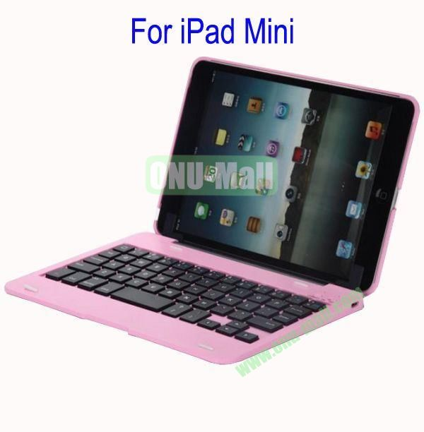Detachable Aluminum Bluetooth Keyboard Case Cover for iPad Mini with Stand(Pink)