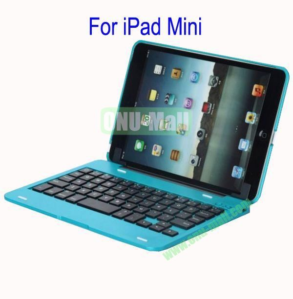 Detachable Aluminum Bluetooth Keyboard Case Cover for iPad Mini with Stand(Blue)