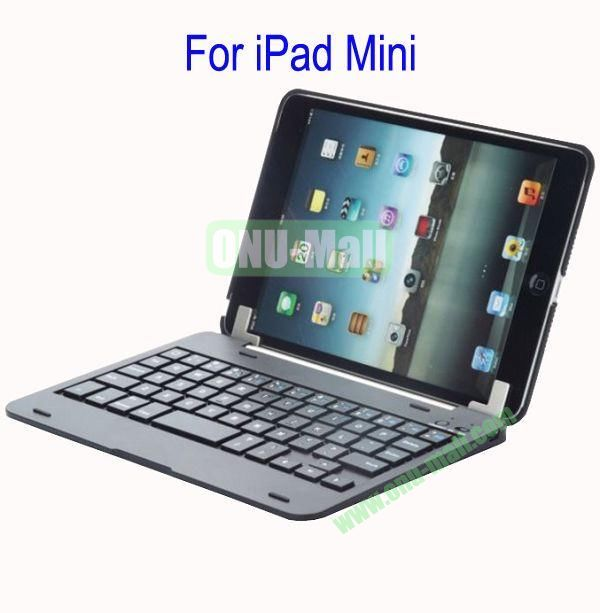 Detachable Aluminum Bluetooth Keyboard Case Cover for iPad Mini with Stand(Grey)