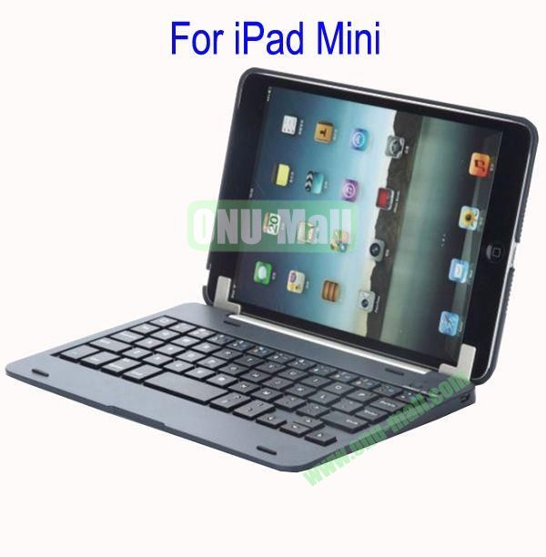 Detachable Aluminum Bluetooth Keyboard Case Cover for iPad Mini with Stand(Black)
