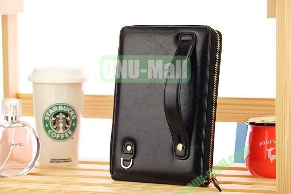 New Arrivel Elegant Matilanuo Hand Bag Leather Case Genuine Leather Cover with Zipper for iPad Mini (Black)