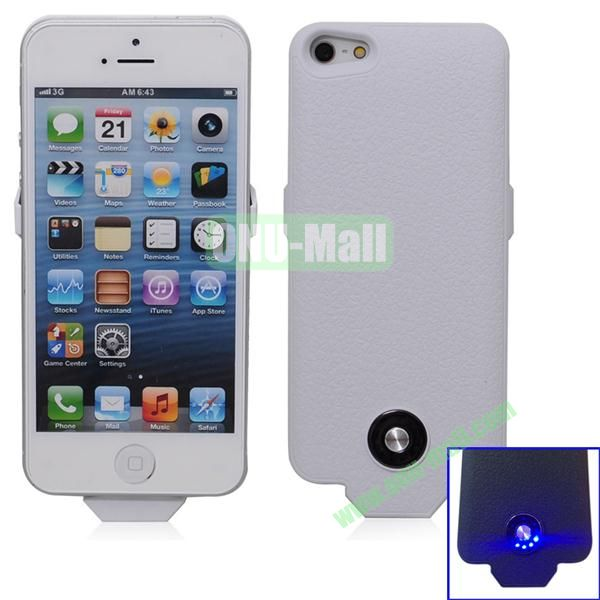 2500mAh Battery Case for iPhone 5S & 5 Support iOS7 and with Smart Power Indication (White)