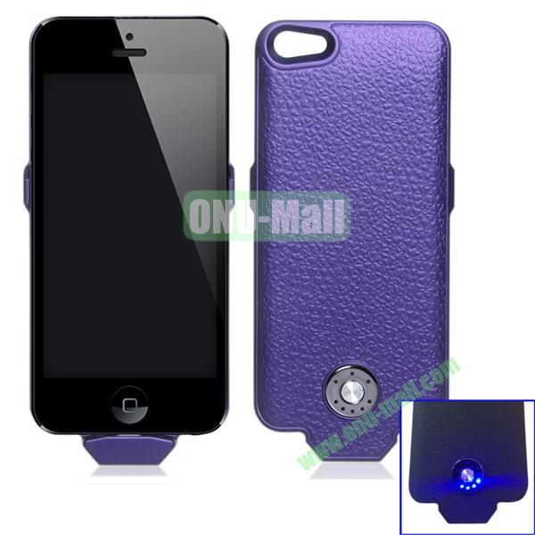 2500mAh Battery Case for iPhone 5S & 5 Support iOS7 and with Smart Power Indication (Purple)